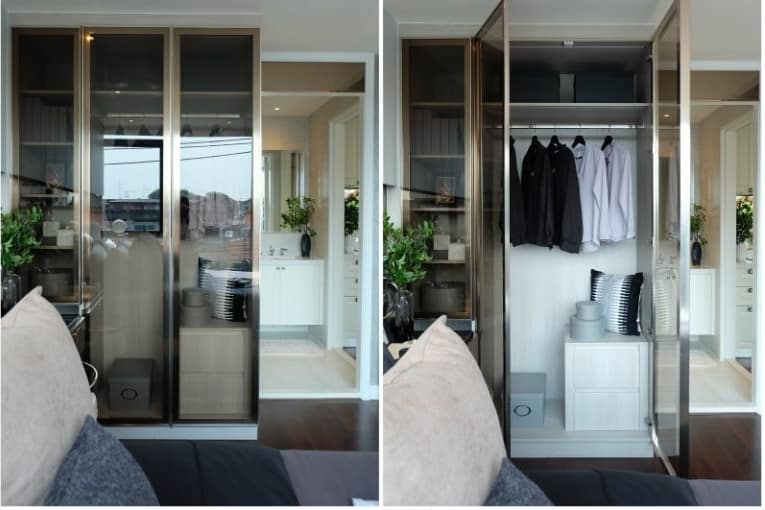 ตู้เสื้อผ้ากระจกเงากรอบสแตนเลส