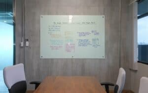 glass whiteboard in meeting room