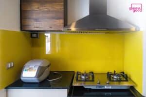 yellow glass wall decorate