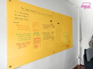 yellow glass whiteboard meeting room