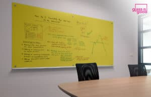 yellow glass whiteboard