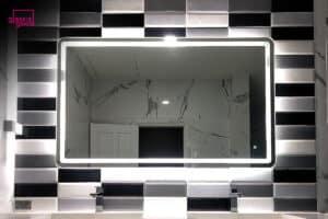 กระจกมีไฟห้องน้ำตกแต่ง